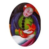 Girl with Cat Oval Ornament