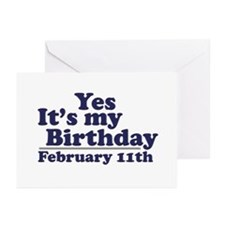 February 11th Birthday Greeting Cards (Pk of 20)