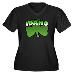 Idaho Shamrock Women's Plus Size V-Neck Dark T-Shi
