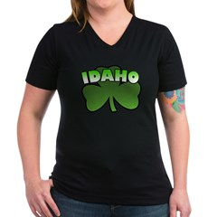Idaho Shamrock Women's V-Neck Dark T-Shirt