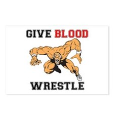 Give Blood Wrestle Postcards (Package of 8)
