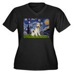 Starry / Fox Terrier (W) Women's Plus Size V-Neck