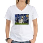 Starry / Fox Terrier (W) Women's V-Neck T-Shirt