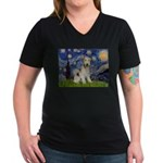 Starry / Fox Terrier (W) Women's V-Neck Dark T-Shi