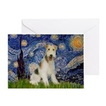 Starry / Fox Terrier (W) Greeting Card