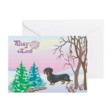 Peace On Earth Dachshund Holiday Greeting Cards (P