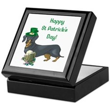 Happy St Patricks Day Doxie Keepsake Box