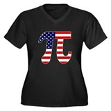 American Pi Women's Plus Size V-Neck Dark T-Shirt