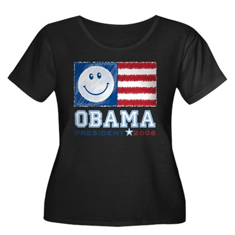 Obama Smiles Women's Plus Size Scoop Neck Dark T-S