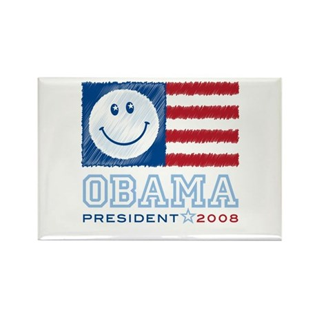 Obama Smiles Rectangle Magnet