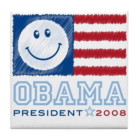 Obama Smiles Tile Coaster
