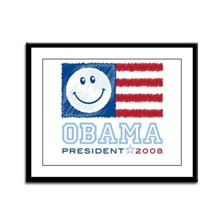 Obama Smiles Framed Panel Print
