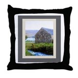Stone House by River Throw Pillow