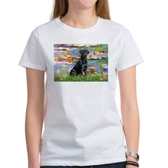 Lilies (#2) & Black Lab Women's T-Shirt