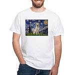 Starry Night Yellow Lab White T-Shirt