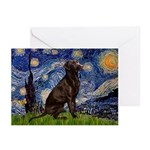 Starry Chocolate Lab Greeting Cards (Pk of 10)