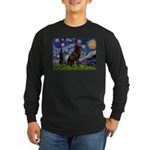 Starry Chocolate Lab Long Sleeve Dark T-Shirt