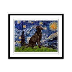 Starry Chocolate Lab Framed Panel Print