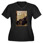 Mom's Chocolate Lab Women's Plus Size V-Neck Dark