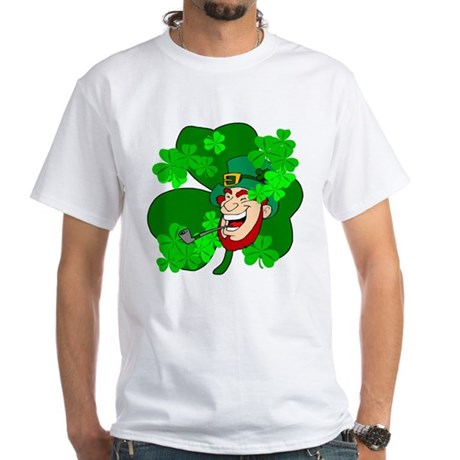 Leprechaun Shamrocks White T-Shirt