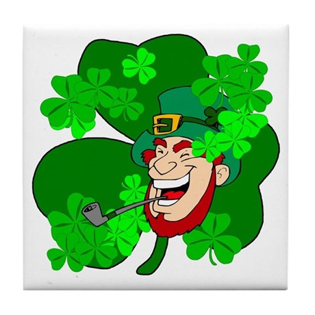 Leprechaun Shamrocks Tile Coaster