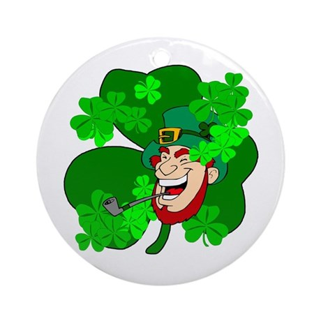 Leprechaun Shamrocks Ornament (Round)