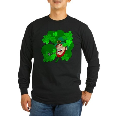 Leprechaun Shamrocks Long Sleeve Dark T-Shirt