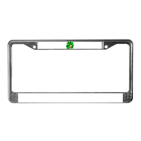 Leprechaun Shamrocks License Plate Frame