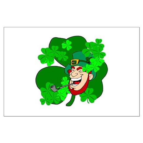Leprechaun Shamrocks Large Poster
