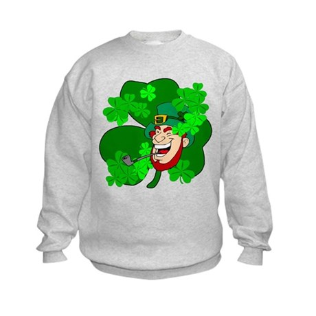 Leprechaun Shamrocks Kids Sweatshirt