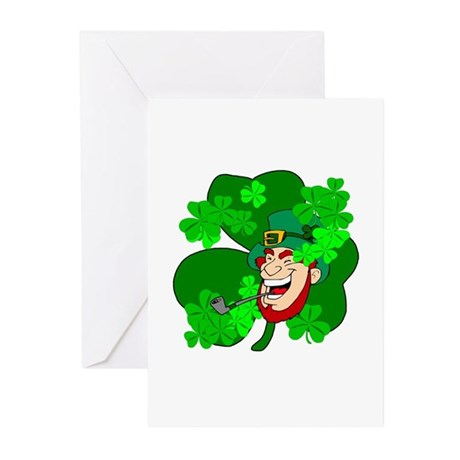 Leprechaun Shamrocks Greeting Cards (Pk of 10)