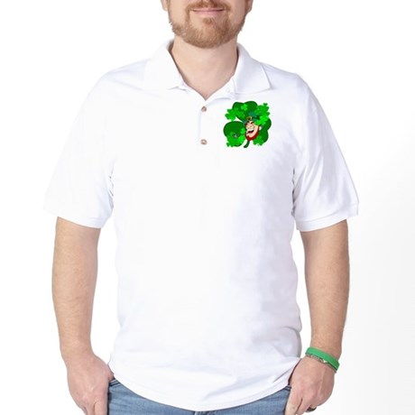 Leprechaun Shamrocks Golf Shirt