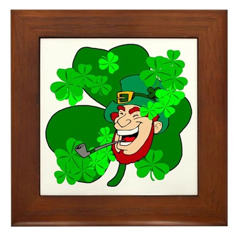 Leprechaun Shamrocks Framed Tile