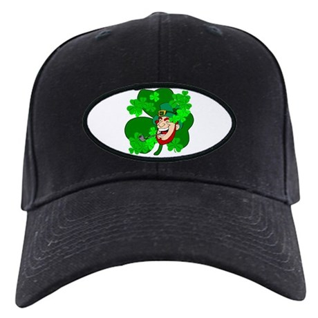 Leprechaun Shamrocks Black Cap