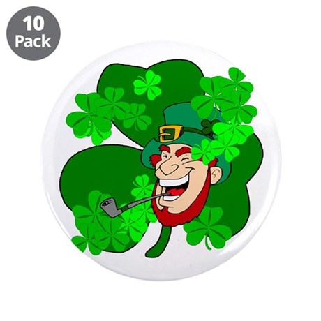 "Leprechaun Shamrocks 3.5"" Button (10 pack)"