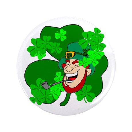 "Leprechaun Shamrocks 3.5"" Button (100 pack)"