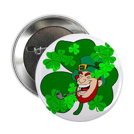 "Leprechaun Shamrocks 2.25"" Button"