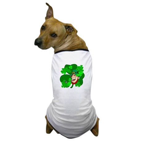 Leprechaun Shamrocks Dog T-Shirt