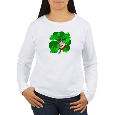 Leprechaun Shamrocks Women's Long Sleeve T-Shirt