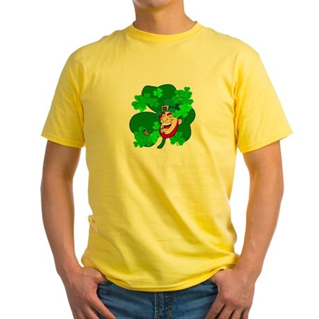 Leprechaun Shamrocks Yellow T-Shirt