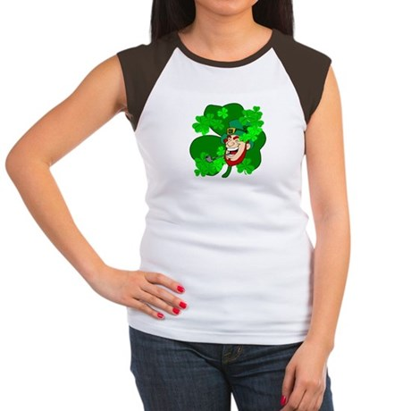 Leprechaun Shamrocks Women's Cap Sleeve T-Shirt