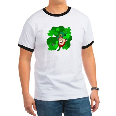 Leprechaun Shamrocks Ringer T