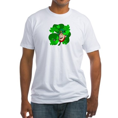 Leprechaun Shamrocks Fitted T-Shirt