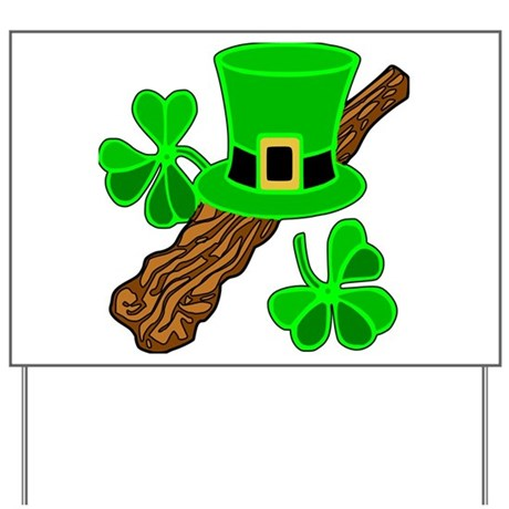 Leprechaun Hat and Shillelagh Yard Sign
