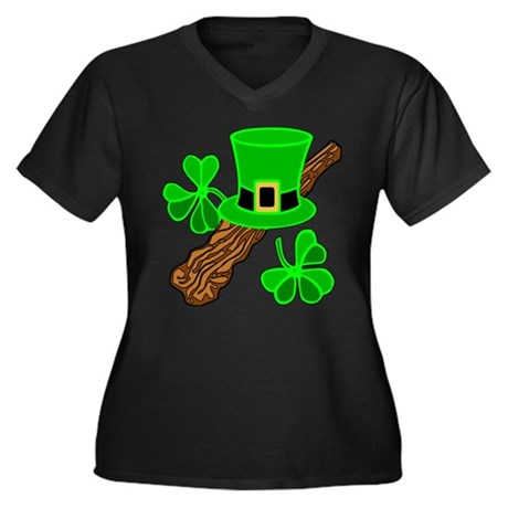 Leprechaun Hat and Shillelagh Women's Plus Size V-