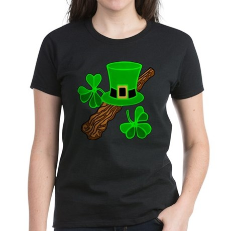 Leprechaun Hat and Shillelagh Women's Dark T-Shirt