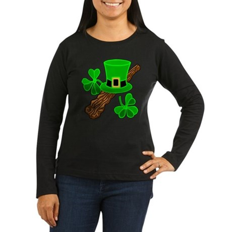 Leprechaun Hat and Shillelagh Women's Long Sleeve