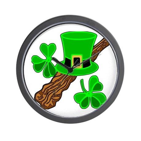 Leprechaun Hat and Shillelagh Wall Clock