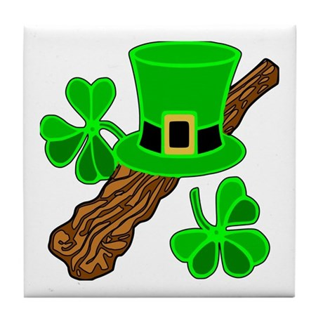 Leprechaun Hat and Shillelagh Tile Coaster