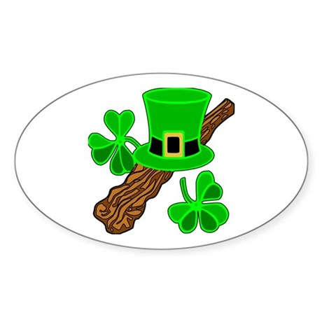 Leprechaun Hat and Shillelagh Oval Sticker